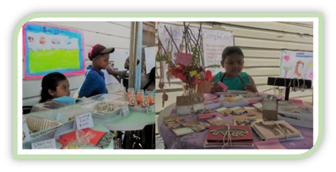 Children displaying their products at Kidpreneur events